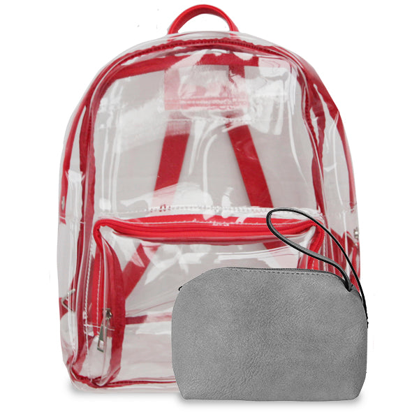 K. Carroll Accessories Red Gray Clear Backpack
