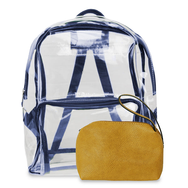 K. Carroll Accessories Navy Gold Clear Backpack