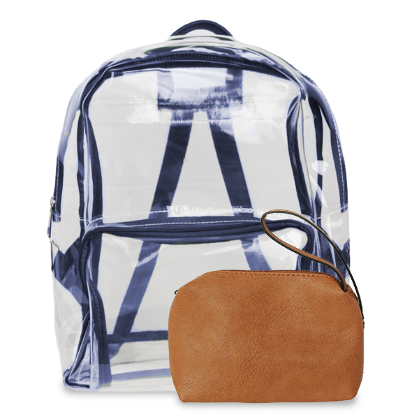 K. Carroll Accessories Navy Orange Clear Backpack