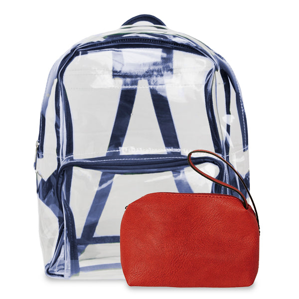 K. Carroll Accessories Navy Red Clear Backpack