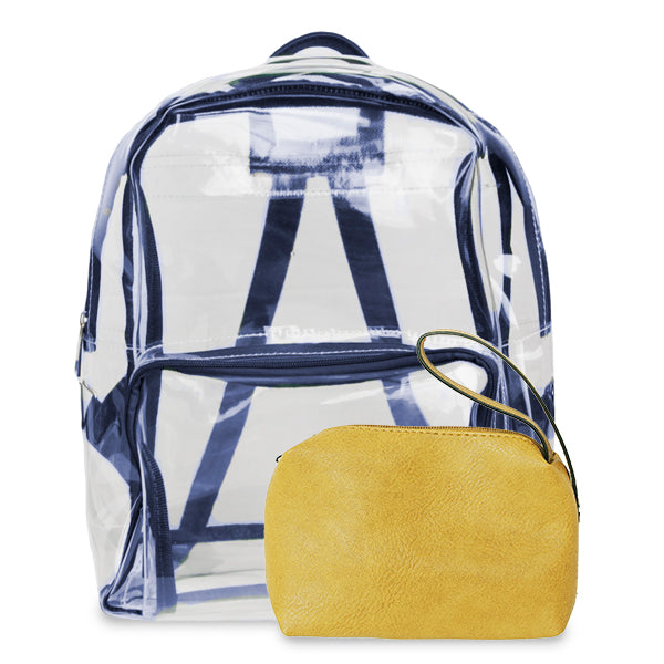 K. Carroll Accessories Navy Yellow Clear Backpack