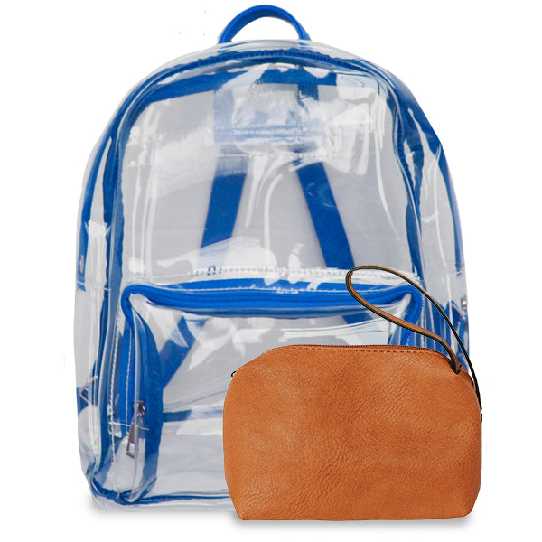 K. Carroll Accessories Royal Blue Orange Clear Backpack
