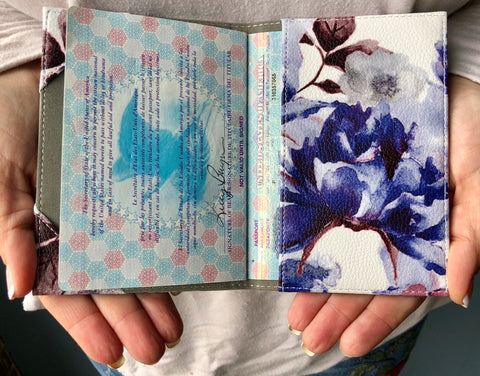 Passport Cover (Blue/Pink Floral)