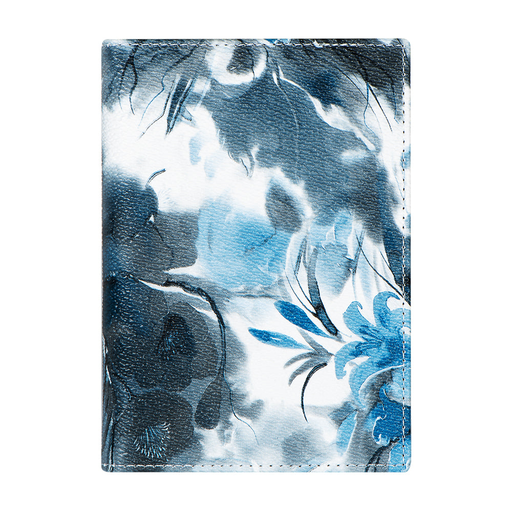 Passport Cover - Gray/Blue Floral
