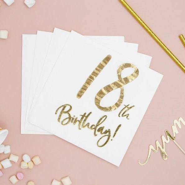 20 Gold 18th Birthday Napkins - HoorayDays