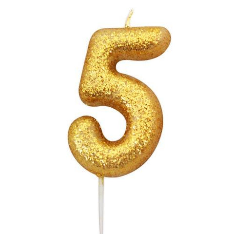 Gold Glitter Five Candle - HoorayDays