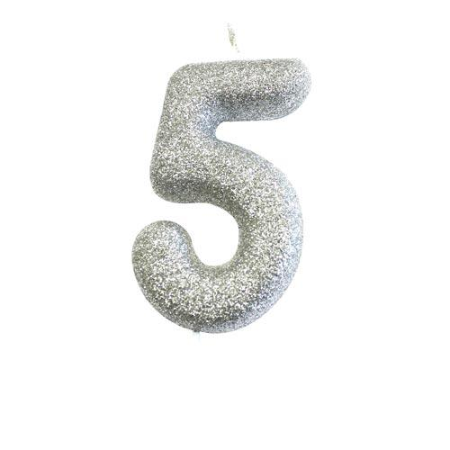 Silver Glitter Five Candle - HoorayDays