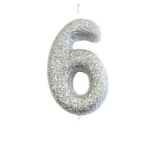 Silver Glitter Six Candle