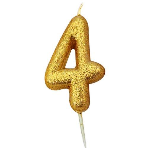 Gold Glitter Four Candle