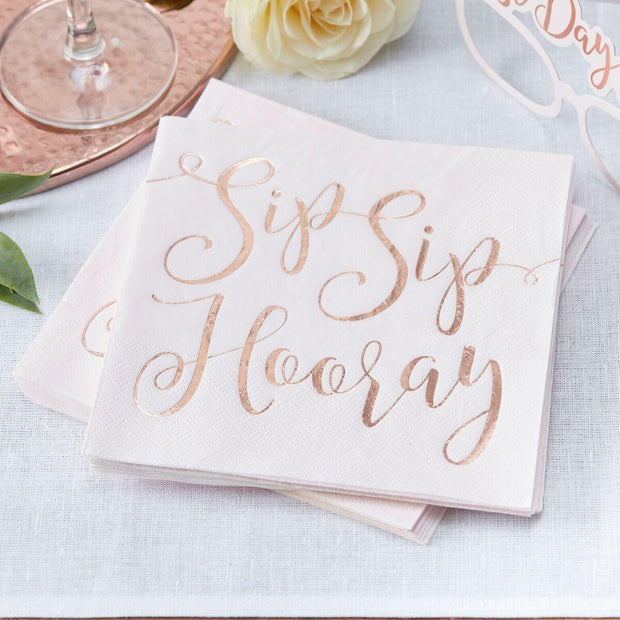 16 Rose Gold Sip Sip Hooray Napkins - HoorayDays