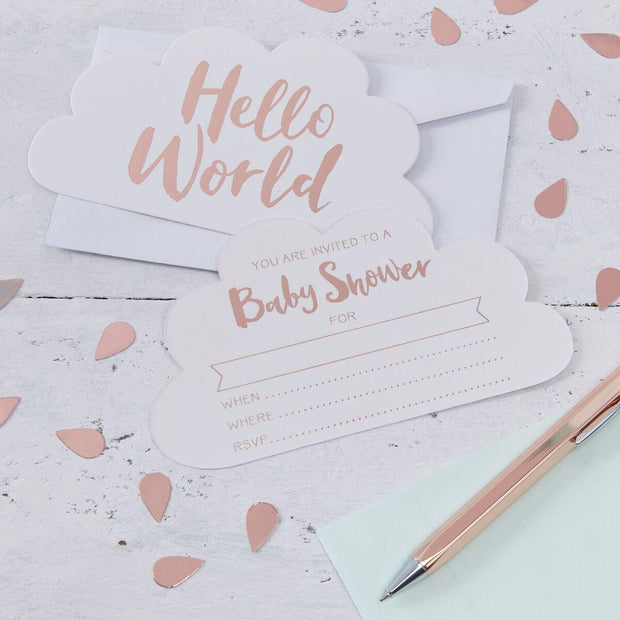 10 Rose Gold Baby Shower Invitations - HoorayDays