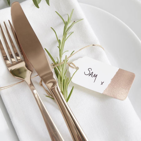 10 White and Rose Gold Place Card Tags - HoorayDays