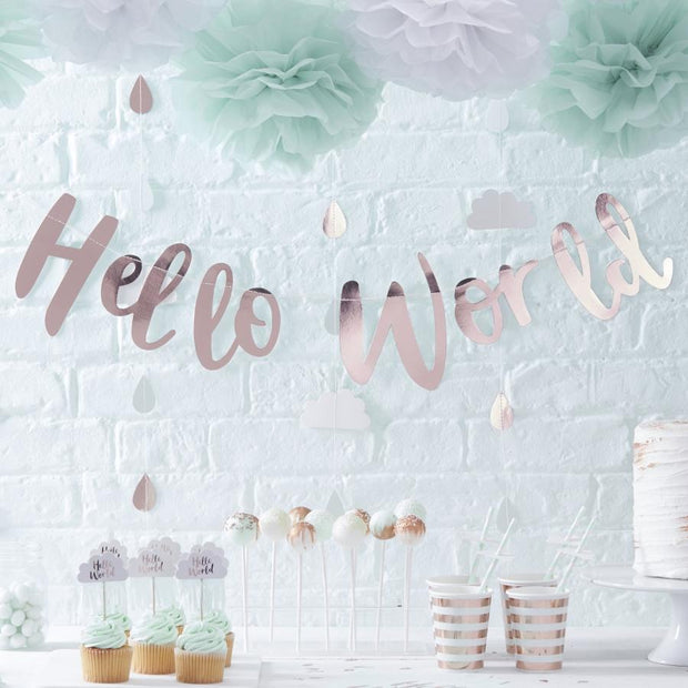 Hello World Rose Gold Bunting - HoorayDays
