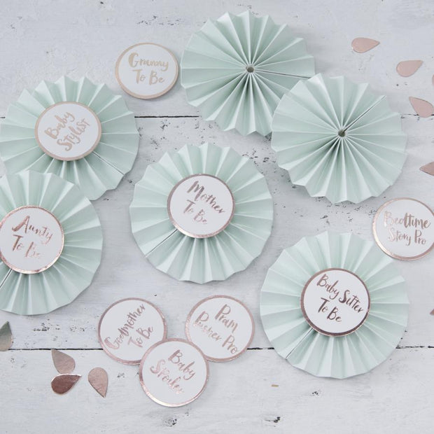 6 Mint and White Baby Shower Badges - HoorayDays