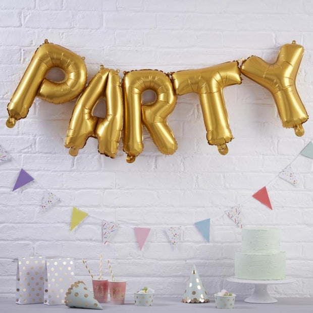 Gold Party Balloon Bunting - HoorayDays