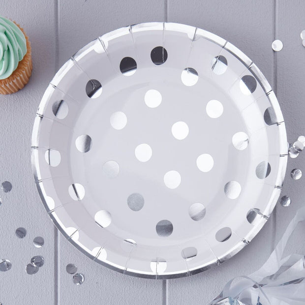 8 White and Silver Polka Dot Plates - HoorayDays