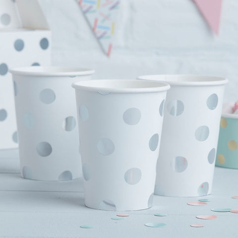 8 White and Silver Polka Dot Cups - HoorayDays