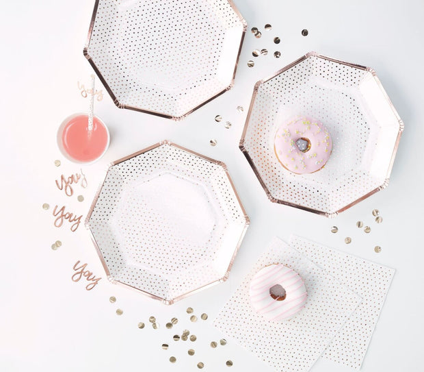 ROSE GOLD FOILED SPOTTY PAPER PLATE - PICK & MIX