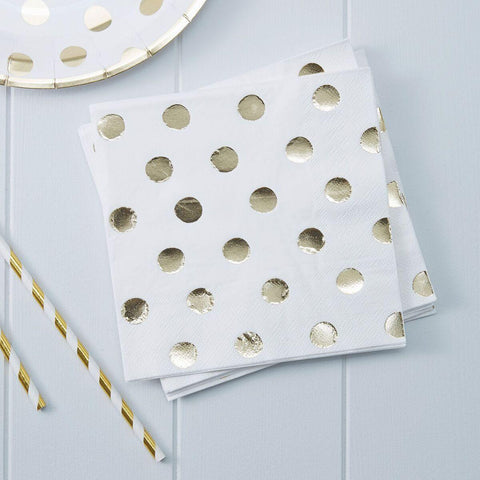 20 White and Gold Polka Dot Napkins - HoorayDays