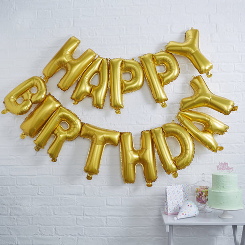 Gold Happy Birthday Balloon Bunting - HoorayDays