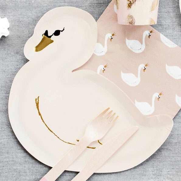 6 Swan Party Plates - HoorayDays