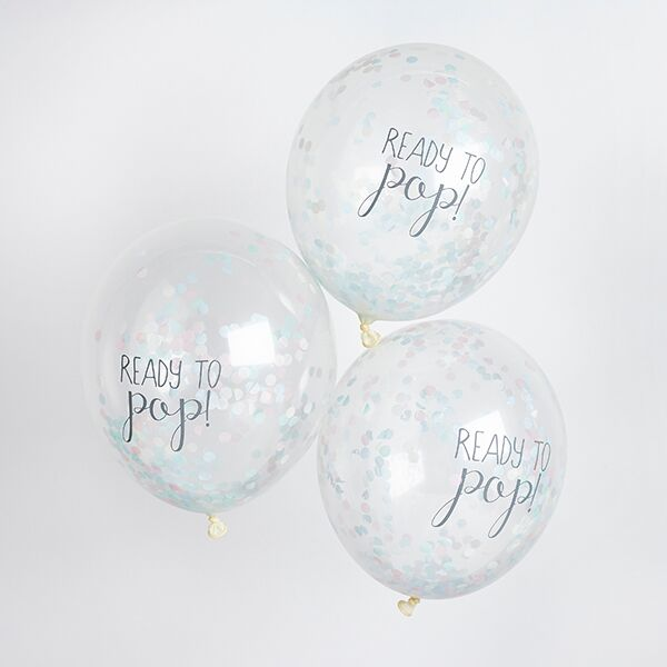 Ready to Pop Rainbow Confetti Balloons