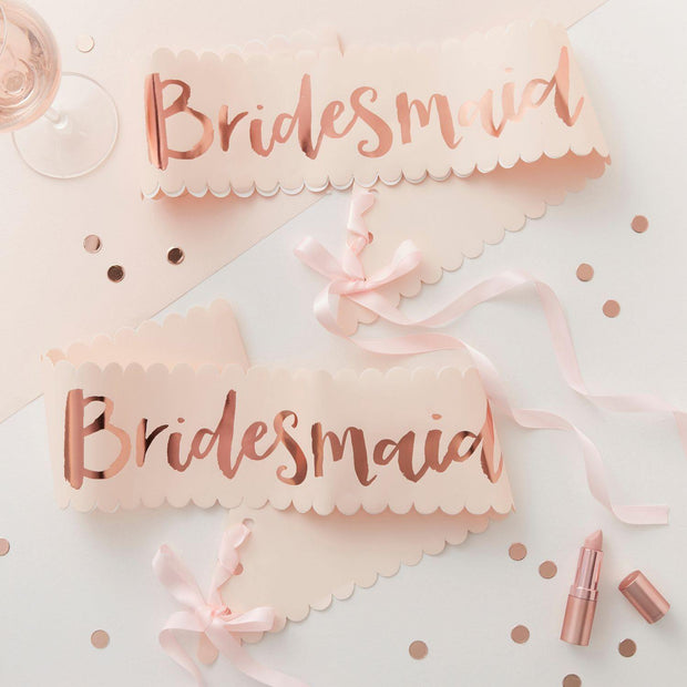 2 Pink and Rose Gold Bridesmaid Sashes - HoorayDays
