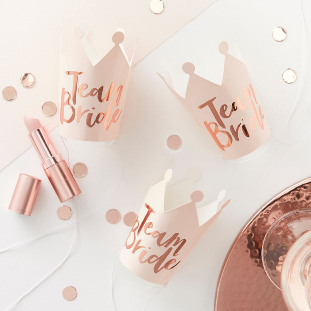 5 Rose Gold and Pink Team Bride Crowns - HoorayDays