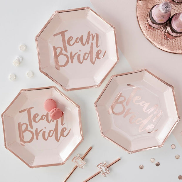 8 Team Bride Plates - HoorayDays