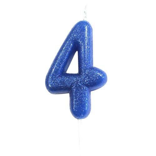 Blue Glitter Four Candle