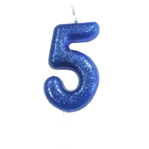 Blue Glitter Five Candle