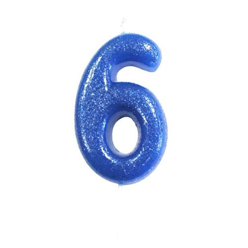 Blue Glitter Six Candle
