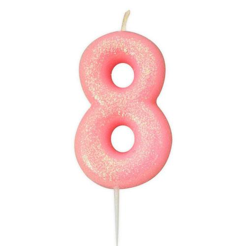 Pink Glitter Eight Candle