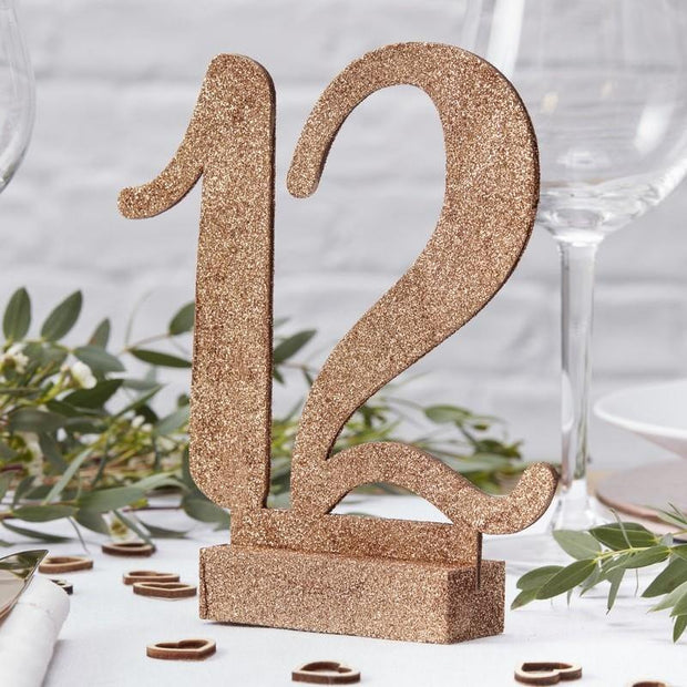 12 Rose Gold Glitter Wooden Table Numbers - HoorayDays