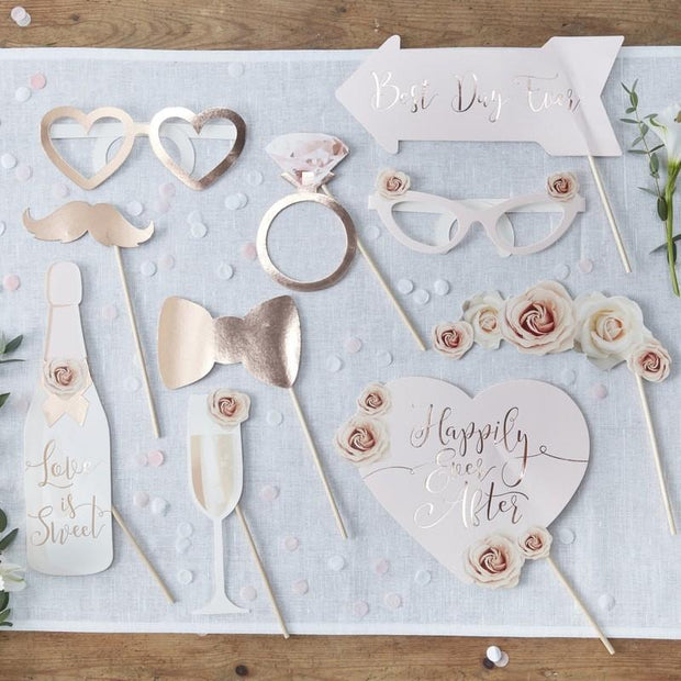 Rose Gold Wedding Photo Props - HoorayDays