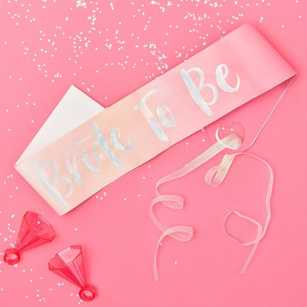 Pink Iridescent Bride To Be Sash - HoorayDays