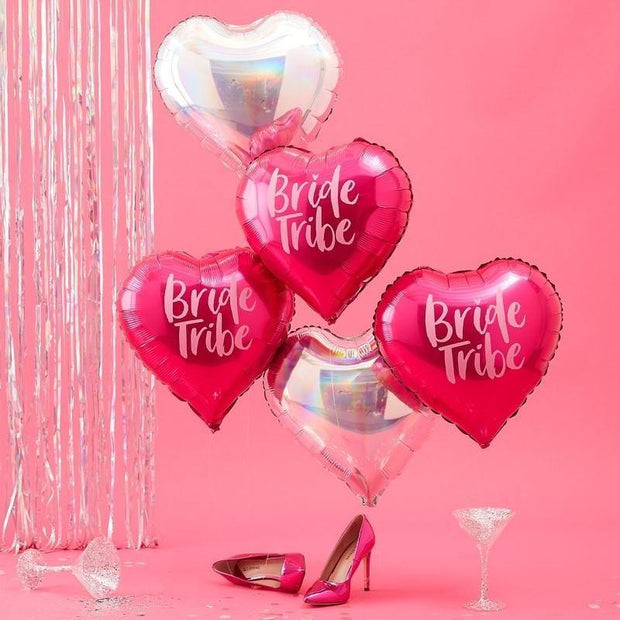 3 Pink and Iridescent Bride Tribe Balloons - HoorayDays