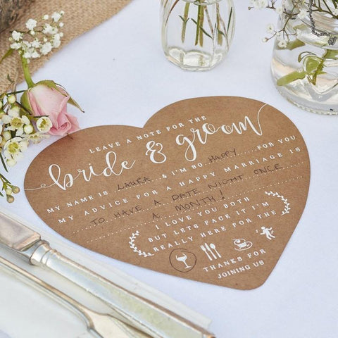 Rustic Heart Shaped Kraft and White Script Advice Cards