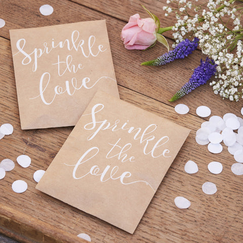 SPRINKLE THE LOVE TISSUE PAPER CONFETTI POUCH - RUSTIC COUNTRY