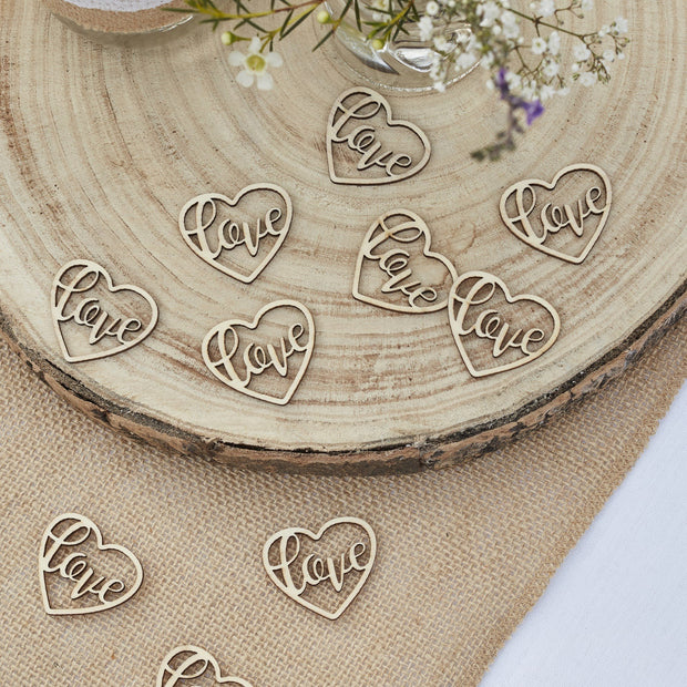 WOODEN HEART LOVE CONFETTI - RUSTIC COUNTRY