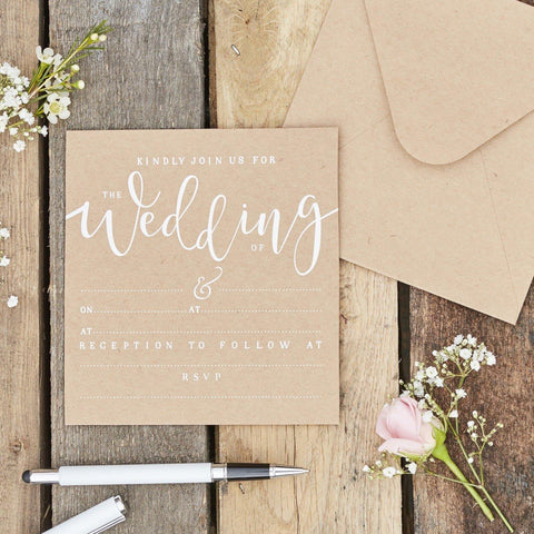 10 Kraft Wedding Invitations - HoorayDays