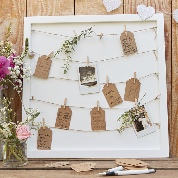 Wooden Peg and String and Tag Frame Alternative Guest Book