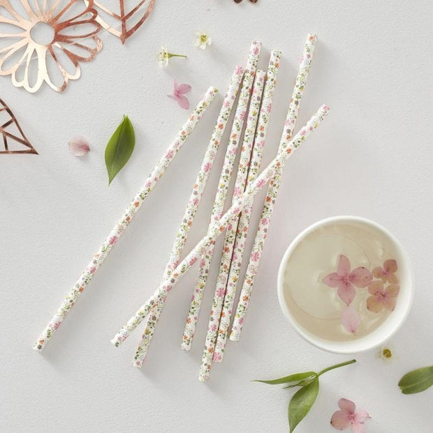 25 Rose Gold Ditsy Floral Straws - HoorayDays