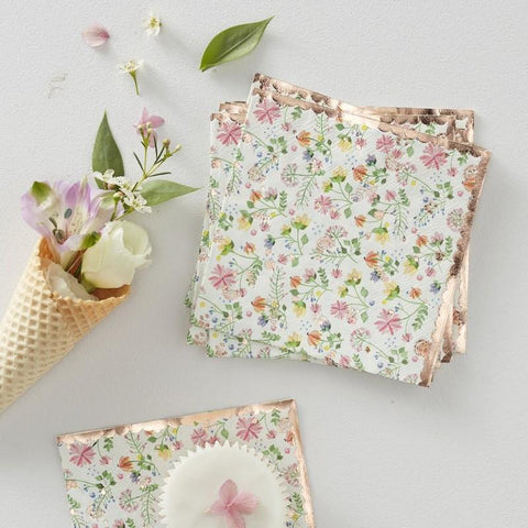 16 Rose Gold Ditsy Floral Napkins - HoorayDays
