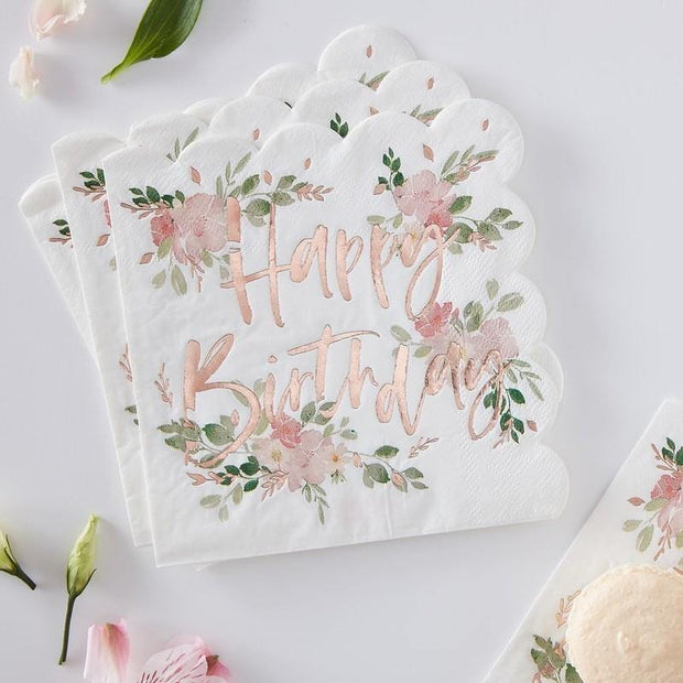 16 Happy Birthday Floral Napkins - HoorayDays