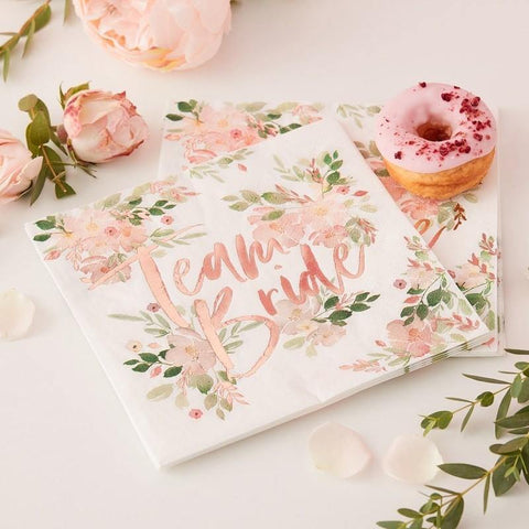 Team Bride Floral Rose Gold Napkins