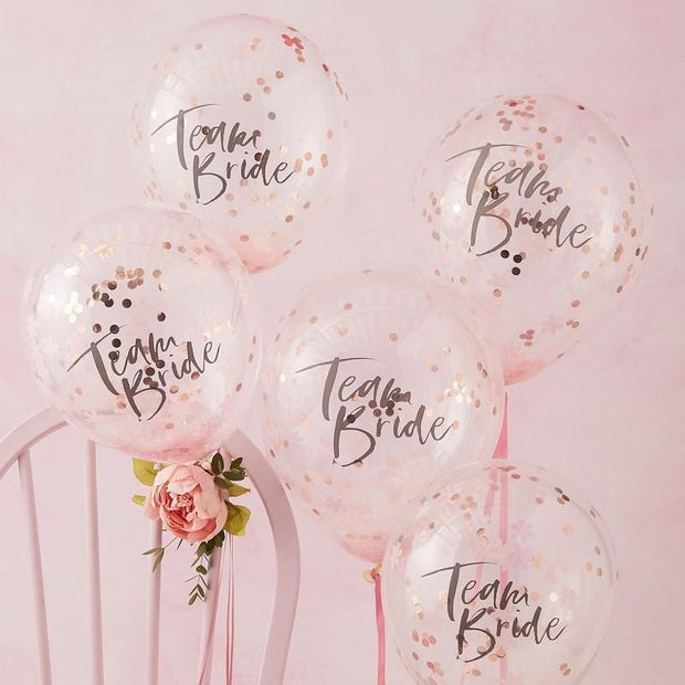 5 Team Bride Confetti Balloons - HoorayDays