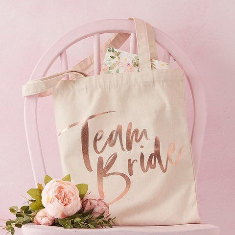 Team Bride Rose Gold Tote Bag