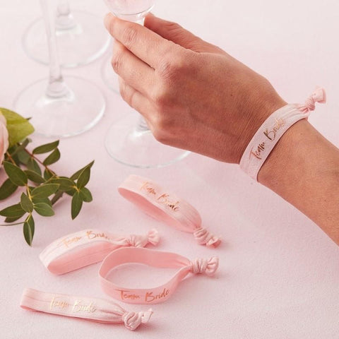 5 Pink and Rose Gold Team Bride Wrist Bands - HoorayDays