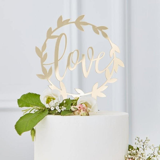 1 Gold Love Cake Topper - HoorayDays